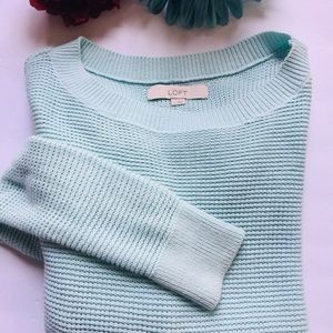 LOFT Soft Blue Boatneck Ribbed Sweater Size S